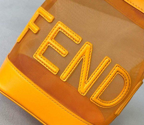 Fendi 8BS010 Mon Tresor Leather And Mesh Mini Bag 8361 Orange - luxibagsmall
