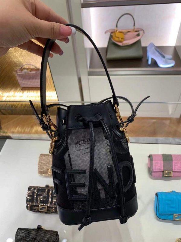 Fendi 8BS010 Mon Tresor Leather And Mesh Mini Bag 8361 Black - luxibagsmall