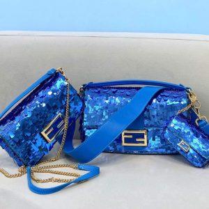 fendi 8bs049 mini baguette 1997 blue satin bag with sequins 0127s 1