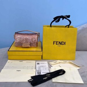 fendi 8bs049 mini baguette 1997 pink satin bag with sequins 0127s 2