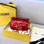 fendi 8bs049 mini baguette 1997 red satin bag with sequins 0127s 2