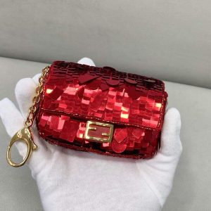 fendi 8bs049 mini baguette 1997 red satin bag with sequins 0136 1 1