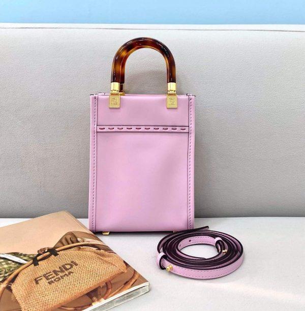 Fendi 8BS051 Mini Sunshine Shopper Leather Bag 8376A Pink - luxibagsmall