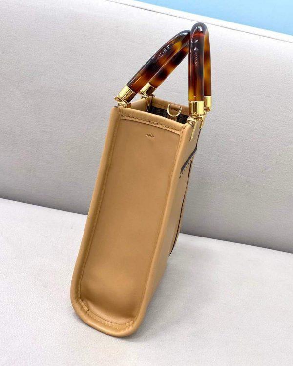 Fendi 8BS051 Mini Sunshine Shopper Leather Bag 8376A Tan - luxibagsmall