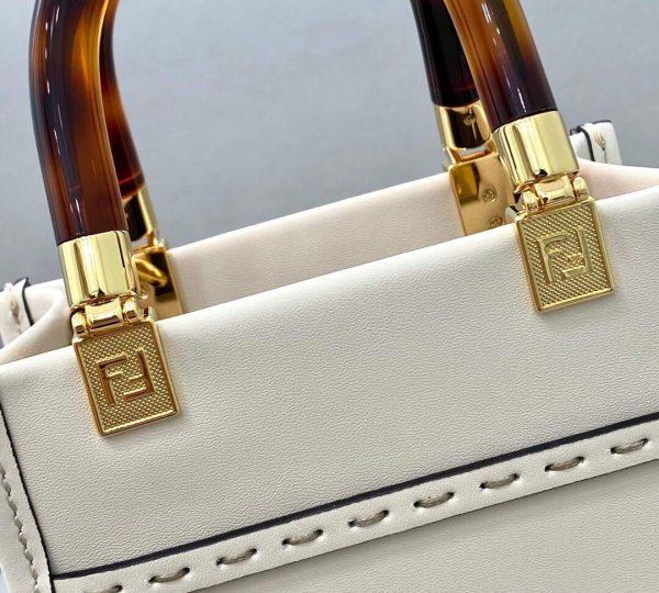 Fendi 8BS051 Mini Sunshine Shopper Leather Bag 8376A Beige - luxibagsmall