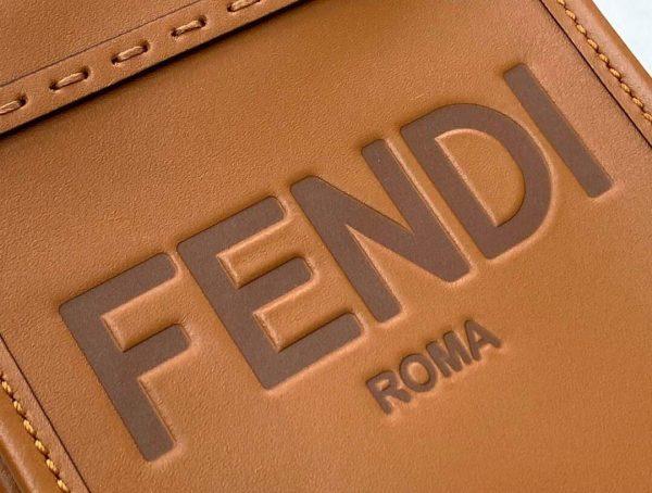 Fendi 8BS051 Mini Sunshine Shopper Leather Bag 8376A Brown - luxibagsmall