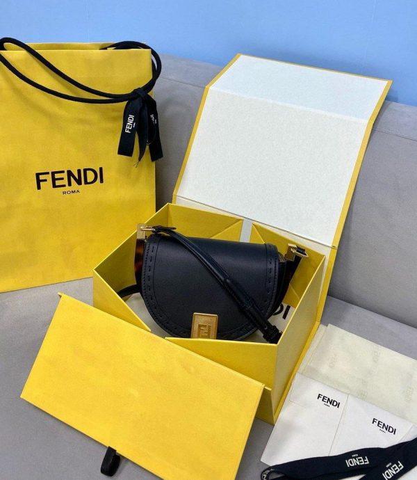 Fendi 8BT346 Fendi Moonlight Shoulder Saddle Leather Bag Black - Voguebags
