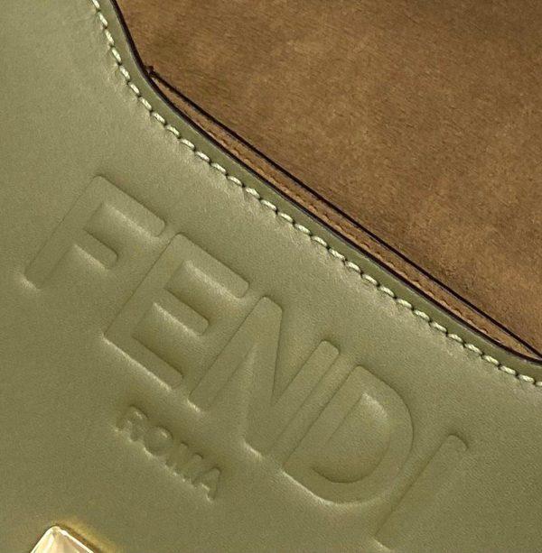 Fendi 8BT346 Moonlight Shoulder Green Leather Bag - Voguebags
