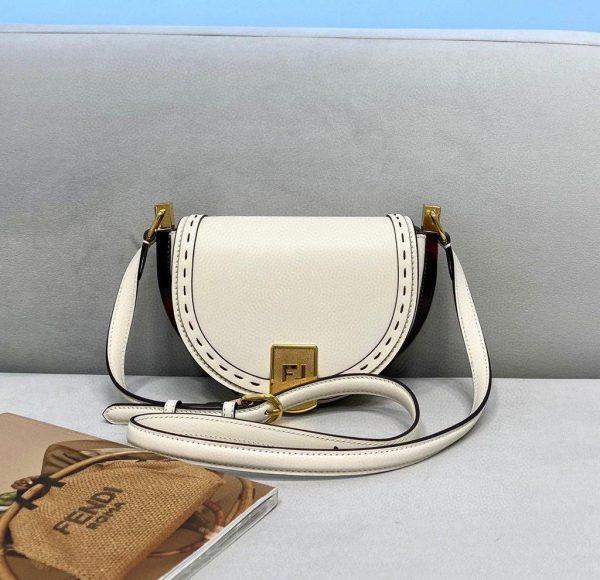 Fendi 8BT346 Moonlight Shoulder White Leather Bag - Voguebags