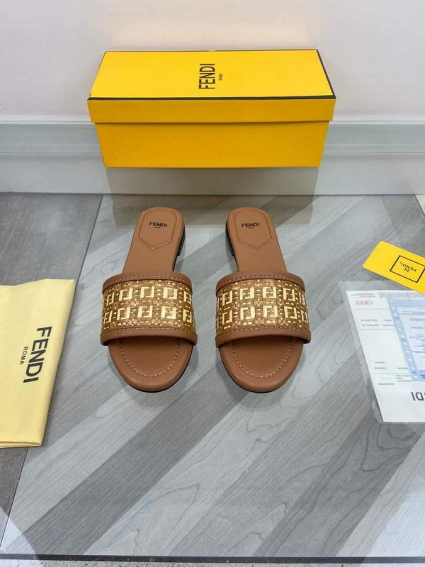 Fendi 8R8092 FF Interlace Leather Slides Flats Shoes Brown - luxibagsmall