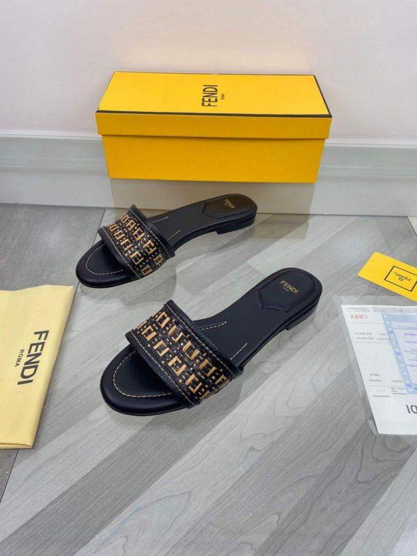 Fendi 8R8092 FF Interlace Leather Slides Flats Shoes Black - luxibagsmall