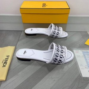 Fendi 8R8092 FF Interlace Leather Slides Flats Shoes White - luxibagsmall