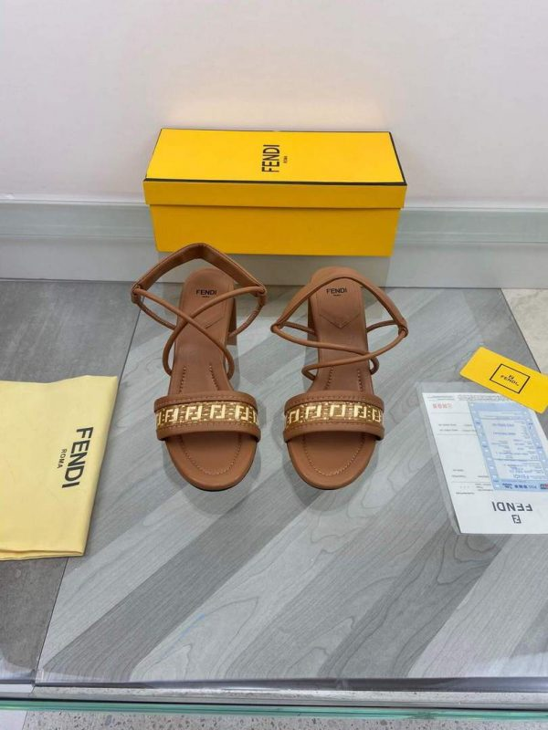 Fendi 8X8093 FF Interlace Leather Sandals Brown - luxibagsmall