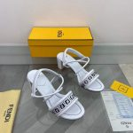 Fendi 8X8093 FF Interlace Leather Sandals White - luxibagsmall