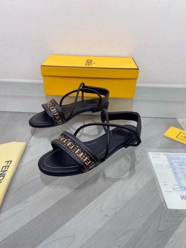 Fendi 8X8094 FF Interlace Leather Sandals Flats Shoes Black - luxibagsmall