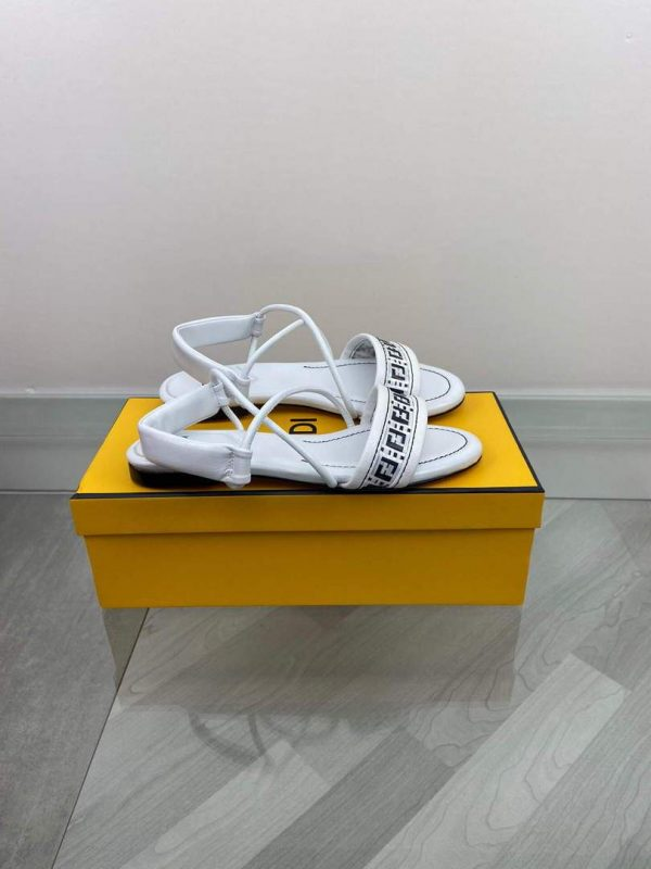 Fendi 8X8094 FF Interlace Leather Sandals Flats Shoes White - luxibagsmall