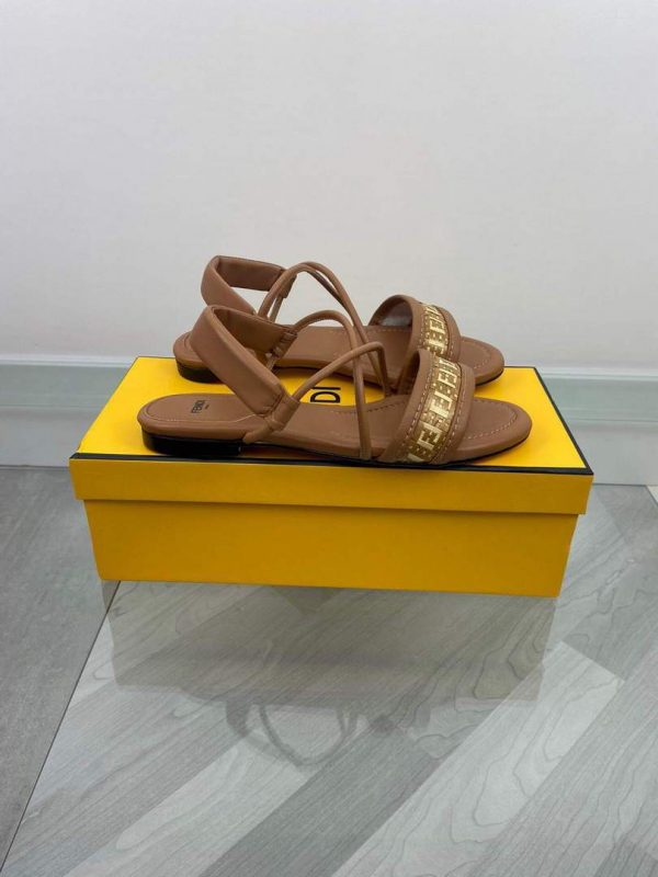 Fendi 8X8094 FF Interlace Leather Sandals Flats Shoes Brown - luxibagsmall