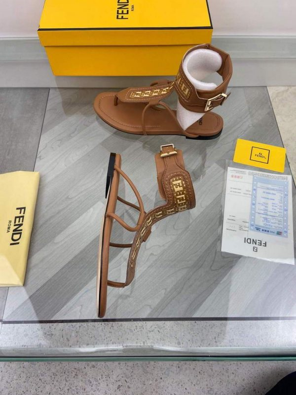 Fendi 8Y8095 FF Interlace Leather Thong Sandals Brown - luxibagsmall