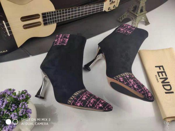 Fendi Boots Designger Fendi Short Shoes Women 81902 Black and Plum - luxibagsmall