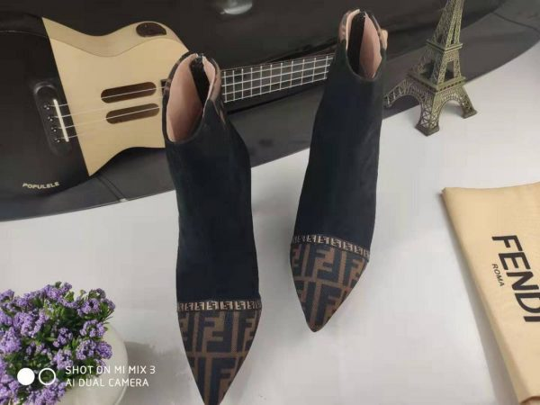 Fendi Boots Designger Fendi Short Shoes Women 81902 Black and Brown - luxibagsmall