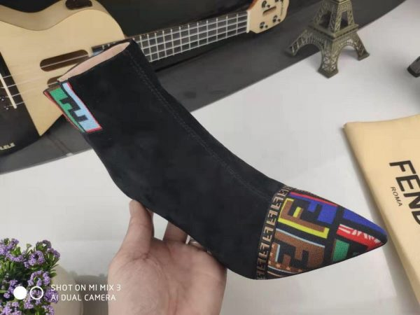 Fendi Boots Designger Fendi Short Shoes Women 81902 Black and Mutlicolor - luxibagsmall