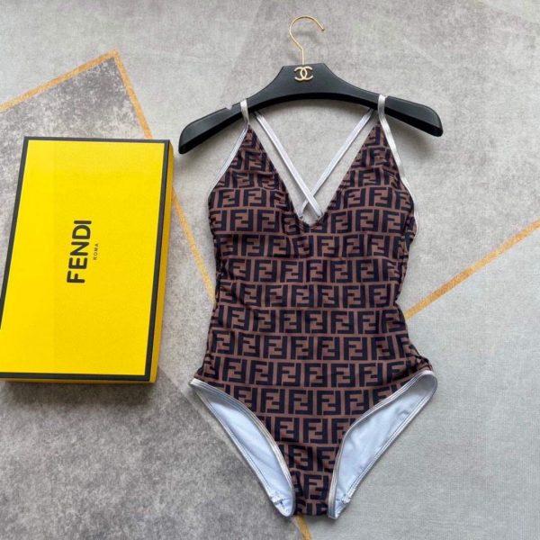 Fendi Women's Brown Lycra swimsuit FXBH06 - luxibagsmall