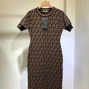 fendi womens dress designer fendi ff motif fitted midi dress fzd753a5 brown 1