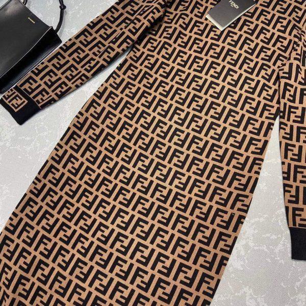 Fendi Women's FD9627A8 Brown Micro Mesh Dress - Voguebags
