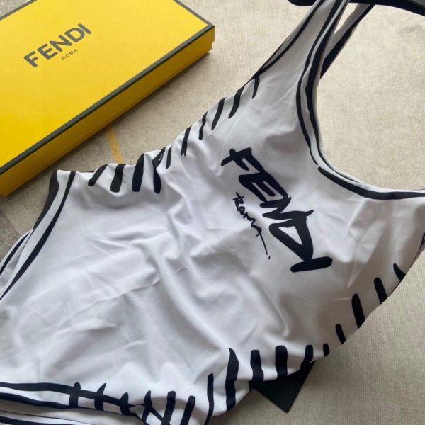 Fendi Women's ONE-PIECE SWIMSUIT White LYCRA swimsuit FXB922 - luxibagsmall