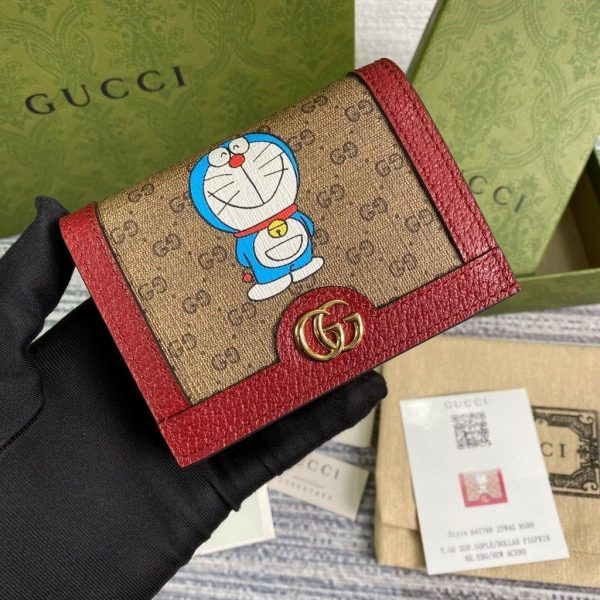 GG 647788 Doraemon x Gucci Card case Red - luxibagsmall