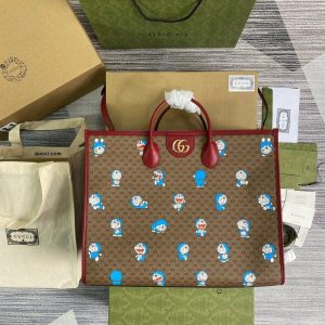 GG 653952 Gucci Doraemon x Gucci large Tote bag Red - luxibagsmall