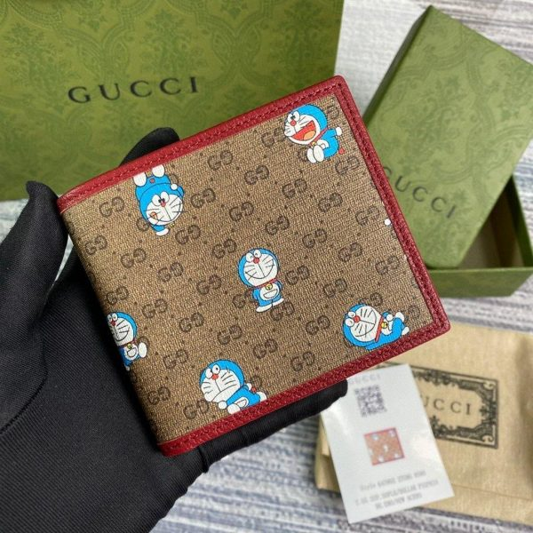 GG 647802 Gucci Doraemon x Gucci Bi-fold Wallet Red - luxibagsmall