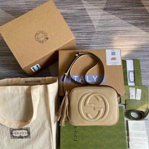 gucci 308364 soho small leather crossbody bags disco bag beige 0