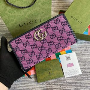 Gucci 443123 GG Marmont Matelassé Zip Around Wallet Purple - luxibagsmall