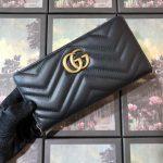 Gucci 443123 GG Marmont Zip Around Wallet Black - luxibagsmall