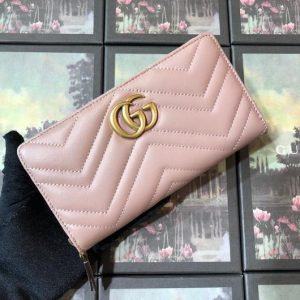 Gucci 443123 GG Marmont Zip Around Wallet Light Pink - luxibagsmall