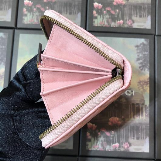 Gucci 443123 GG Marmont Zip Around Wallet Pink - luxibagsmall