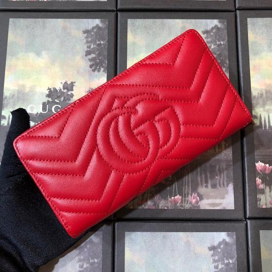 Gucci 443123 GG Marmont Zip Around Wallet Red - luxibagsmall