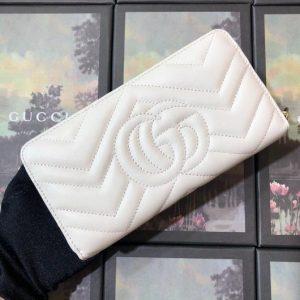 Gucci 443123 GG Marmont Zip Around Wallet White - luxibagsmall