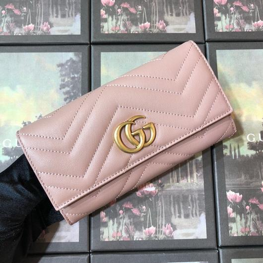 Gucci 443436 GG Marmont Continental Wallet Light Pink - luxibagsmall