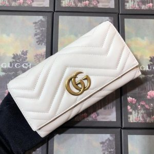 Gucci 443436 GG Marmont Continental Wallet White - luxibagsmall