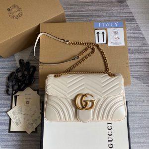 Gucci 443496 GG Marmont Medium Matelassé Shoulder Bag White - luxibagsmall