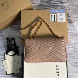 Gucci 443496 GG Marmont Medium Matelassé Shoulder Bag Light Pink - luxibagsmall