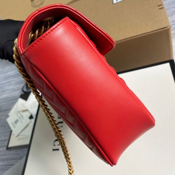 Gucci 443496 GG Marmont Medium Matelassé Shoulder Bag Red - luxibagsmall