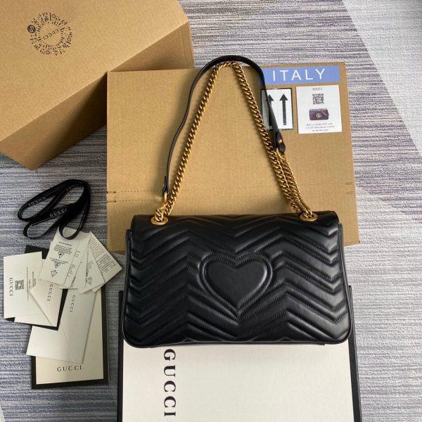 Gucci 443496 GG Marmont Medium Matelassé Shoulder Bag Black - luxibagsmall