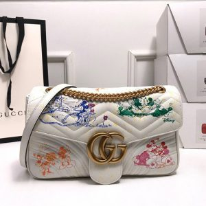Gucci 443496 GG Marmont Medium Matelassé Shoulder Bag White and printer - luxibagsmall