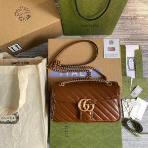Gucci 443497 GG Marmont Matelassé shoulder Bag Brown - luxibagsmall