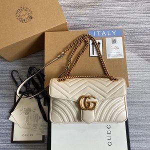 Gucci 443497 GG Marmont Matelassé Shoulder Bag White - luxibagsmall