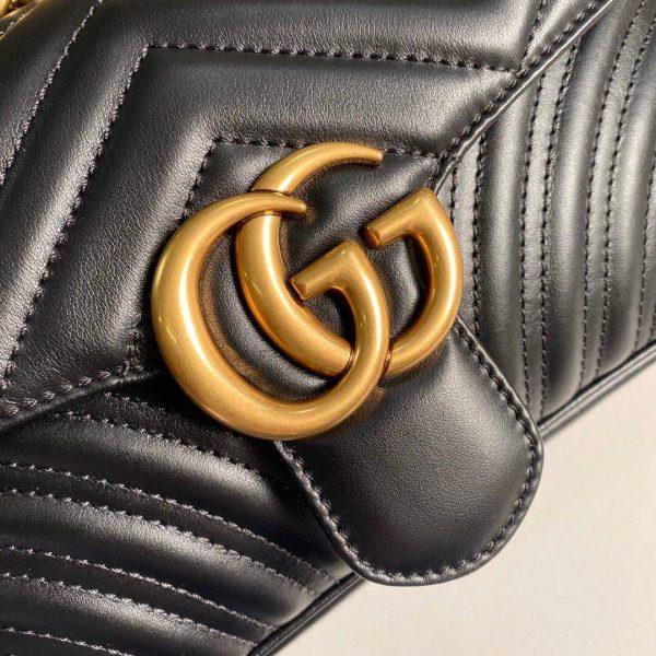 Gucci 443497 GG Marmont Matelassé Shoulder Bag Black - luxibagsmall