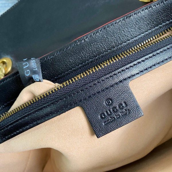 Gucci 443497 GG Marmont Matelassé Shoulder Bag Black Yellow - luxibagsmall